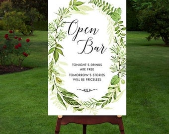 Printable Wedding Sign, Wedding Open Bar Sign, Greenery Open Bar Sign, Botanical Open Bar Sign, Wedding Quote Sign, Calligraphy, Green Sign