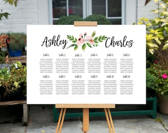 Custom Printable Seating Chart, printable wedding Table Chart, Blush Floral Wedding Sign, Summer Wedding Seating Arrangement, Find Your Seat