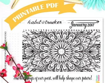 Printable Habit Tracker Coloring Page February 2017
