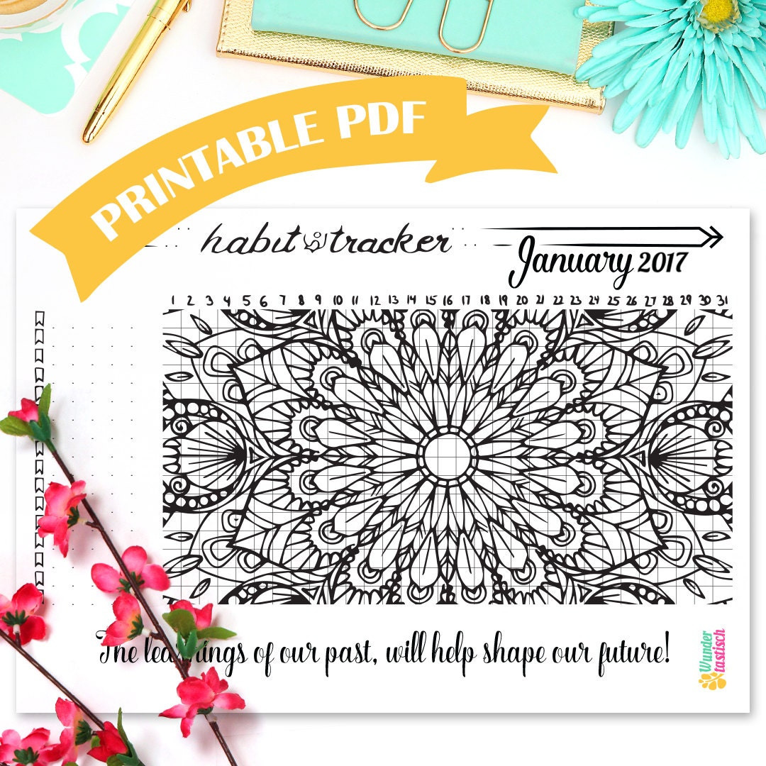 printable habit tracker coloring page mandala coloring page