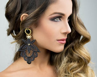 Black Dangle Earring, Long Chandelier Earrings, Big Earrings, Handmade Earrings, Statement Earrings, Wholesale Earrings, Boho Chic Earrings