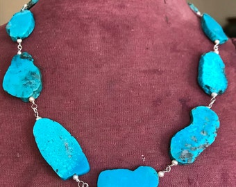 Turquoise slab, fresh water pearl and sterling silver necklace