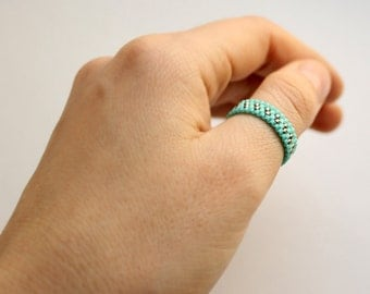 Turquoise thumb ring for women Seed bead jewelry Thin turquoise ring Boho band ring for her Band beaded ring Simple bohemian ring Beadwork