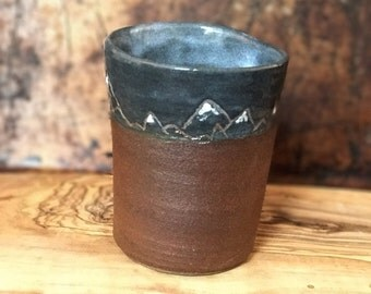 Mountain tumbler hand made pottery