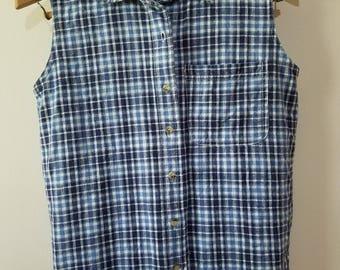 Vintage 90's Plaid Button Down / Sleeveless Button Down / Vintage Plaid Shirt