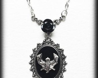Gothic Bat Necklace With Black Rose, Silver Bat, Black Velvet Cameo, Vampire Bat Gothic Pendant, Alternative Jewelry, Gothic Gift For Her