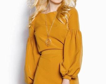 Mustard dress women Contrast dress casual wear  Asymmetric dress Long sleeve Casual womens gown Boho knee dress wide sleeves Turquoise dress
