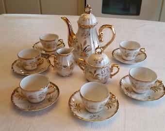 antique japan musical coffee / teapot set w/ creamer & sugar bowl and 6 demitasse cups and saucers 1960 's - vintage tea pot japanese floral