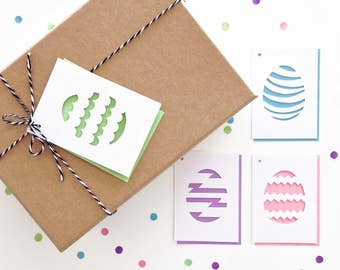 Easter Gift tags - Set of 4, Easter Eggs, Easter Basket Tags, Scallop, Stripe, Zigzag, Chevron, Patterns, Swing Tags, Favor Tags