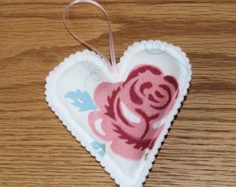 Emma Bridgewater hanging heart, Emma Bridgewater Rose and Bee, fabric heart, hanging heart, wedding decor