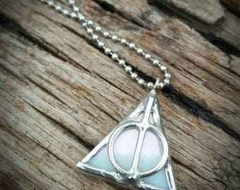 Deathly Hallows Harry Potter inspired white stained glass pendant necklace handmade soldered jewelry iridized