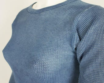 Vintage Hand Dyed Natural Indigo Thermal Top size XS