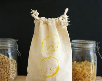 Bag loose (large) Zero waste in organic cotton muslin - citrus