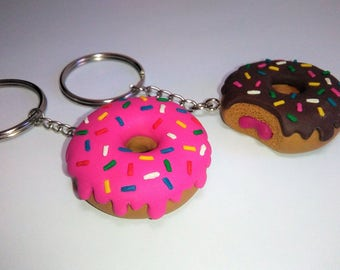 Donuts key chain strawberry chocolate chips colorful homer simpson sweet sugar fake food jam cute sparkles