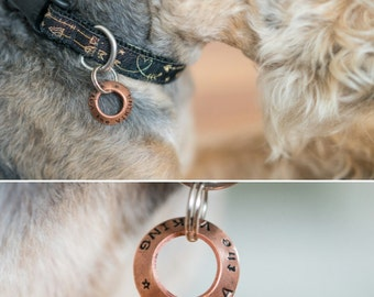 Washer 'Helga' Style Concave Dog Tag Brass or Copper S/M/L - Handstamped