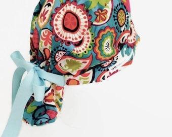 Ponytail Scrub Hat Teal Paisley