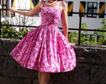 Pinup dress 'You're my treasure', PLUS SIZE AVAILABLE, Cherry gathered bust rockabilly dress,