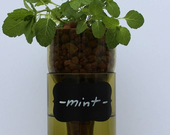 Wine Bottle Self Watering Planter (Hydro Planter) 1.5 Liter (magnum) Recycled Wine Bottle - Golden Yellow