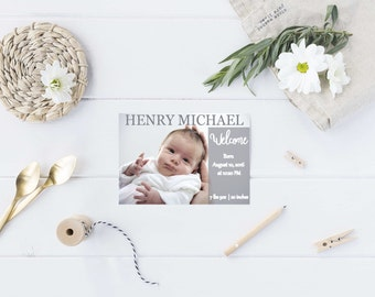 Welcome Baby announcement, Birth announcement, simple birth announcement - Digital