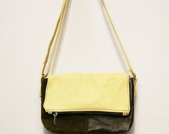 Double yellow and green recycled leather pouch