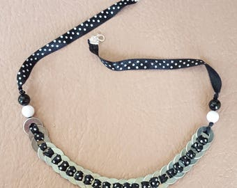 Beautiful Black and White Polka Dotted Ribbon Necklace with Metal Rings