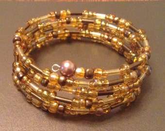 Gold & Brown Beaded Memory Wire Bracelet