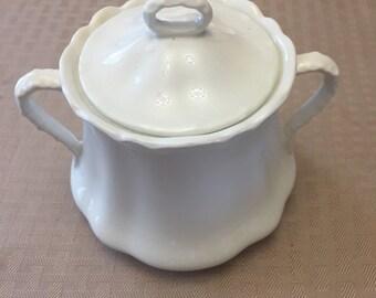 White Sugar Bowl - Johnson Bros China - Made in England - Sugar Bowl with Lid - Scalloped Edge China - Vintage Sugar Bowl - Wedding China
