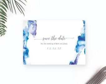 Watercolour Save the Date / Printable Save the Date Card / Destination Wedding Save our Date / Modern Beach Wedding Save the Date Template