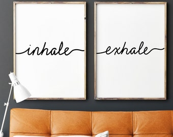 Inhale Exhale Print, Yoga Wall Art, Printable, digital, Bedroom, Wall Prints, Inhale Exhale, Relaxation, Gifts, Breathe Print, Yoga,gift for