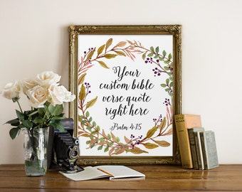 Bible Verse Printable, Your Custom Bible Verse, Custom Bible Print, Bible Verse Quote, Christian Decor, Hand Lettering, Calligraphy Decor