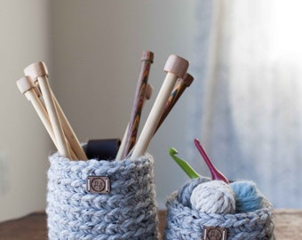 Set of two crocheted accessory baskets // featured in Grey Marble