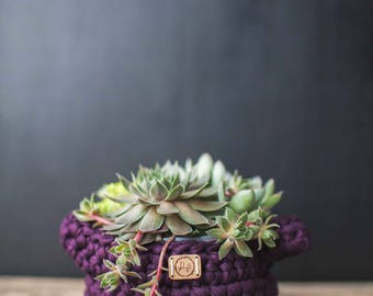 Ready to ship! Crocheted basket planter with handles // featured in the color Eggplant
