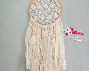 Dream-catcher lace and wool Ivorian, son Golden Feather and Pearl wood