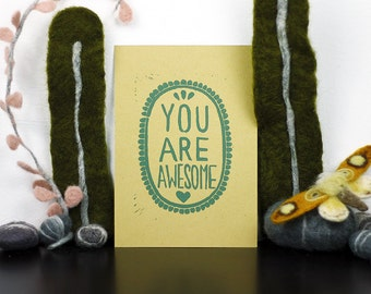 You Are Awesome Linoprint