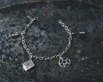 Air Charm Bracelet (handmade, sterling silver 925, witch, witchcraft, magic, book of shadows, witch broom hat, pentacle, spiritual, psychic)