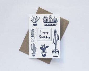 SALE to make way for new stock: Letterpress Happy Birthday Cacti / Cactus Greeting Card | Gift Card