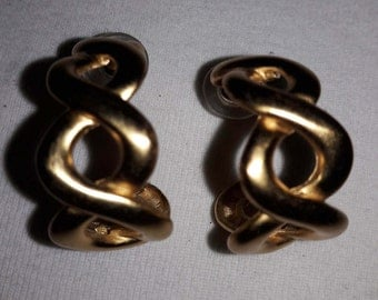 Matte Gold Plated Anne Klein Hoop Vintage Pierced Earrings