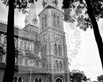 Large Wall Art Black and White Vietnam Photography Architectural Photo Church Photography Catholic Church Saigon Fine Art Print Wall Art