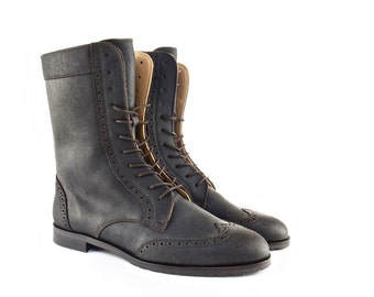 Women Handmade Combat Ankle Leather Boots in Rugged Mocha Brown Leather. Handmade Leather Boots