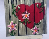Where Love Grows / Fence, heart, flowers, lilies / Small Art Painting with Desktop Easel, 4 x 4 inch