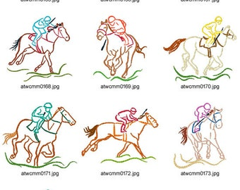 Outline-Horse-Races ( 10 Machine Embroidery Designs from ATW )