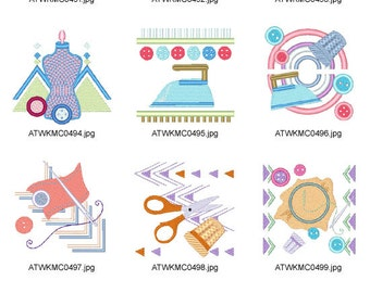 Retro-Sewing ( 10 Machine Embroidery Designs from ATW ) XYZ17B