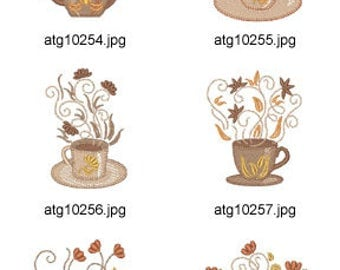 Coffee-Or-Tea ( 10 Machine Embroidery Designs from ATW ) XYZ17C