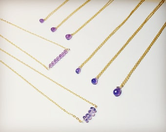 Crystal necklace, Amethyst Necklace, Gemstone Necklace, Dainty Necklace, Layering Necklace, February birthstone, Faceted Amethyst
