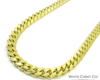 10K Gold 5mm Semi-Solid Miami Cuban Chain
