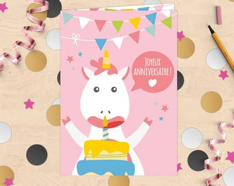 """Happy birthday!"" Unicorn birthday card with envelope layer filled with confetti"