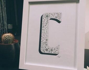 Handmade Framed Letter Nature/Flower Print