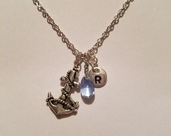 Birthstone March Aquamarine necklace anchor Aquamarine March birthstone Aquamarine anchor birthstone necklace Aquamarine birthstone anchor