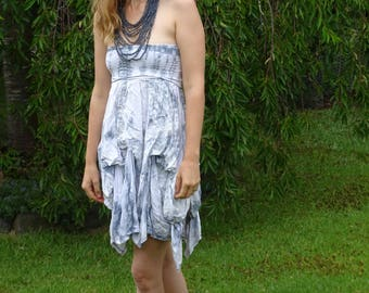 Ruffled Tie Dyed Two Way Dress/Skirt Handmade and Hand Tie Dyed - Can be worn as a Dress or a Skirt