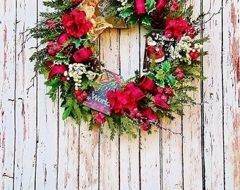 Chalkboard Christmas Front Door Wreath, Holiday Door Wreaths, Christmas Wreaths, Fireplace Wreaths, Red and Black Holiday Wreath   W244 ,